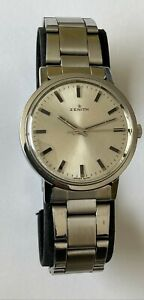 Vintage ZENITH Watch 19 Jewels Swiss Made Zenith 2532 Silver Dial Steel Zenith
