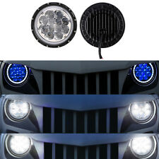 2x 7Inch 40W Round LED Running Headlights Blue DRL For Jeep Wrangler JK TJ 97-17