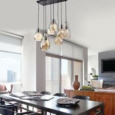 8-Light Cognac Glass Cluster Pendant in Antique Black Finish Cognac