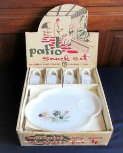 Vintage 50's Patio Snack Set Atomic Flowers Federal Glass Company Mid Century