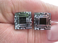 """Silver-Tone and Black Enamel Cufflinks with a """"Totem"""" Theme"""