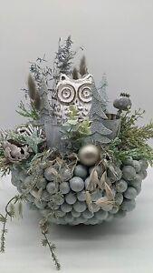 Wintergesteck Winterdekoration Weihnachtsgesteck Blumenarrangement Eule Teeli...