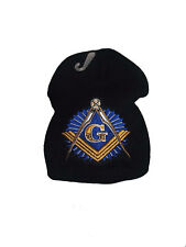 "8"" Black Mason Masonic Freemason Symbol With Shadow Snow Beanie Skull Cap (RAM)"