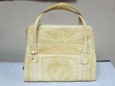 Vintage Hand Carved Purse Tooled Blonde Leather Handbag Made In Mexico