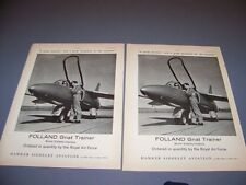Vintage.(2Pc) 1960 Folland Gnat.Original Sales Ads (531K)