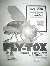 PUBLICITE DE PRESSE FLY-TOX INSECTICIDE MOUCHE ILLUSTRATION EREL AD 1937