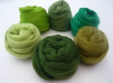 Heidifeathers Merino Wool Tops - 'Gleeful Greens' - Felting Wool