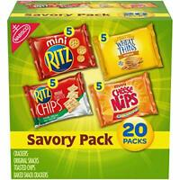 20pcs Savory Cracker Variety Pack Cheese Nips, Wheat & Ritz Snacks Chips Food