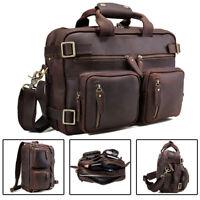 """Vintage Men's 14"""" Laptop Leather Briefcase Shoulder Bag Expandable Backpack Tote"""