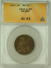 1910 Great Britain 1/2 Penny Coin ANACS AU-53 (Better Coin)
