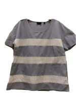 Mercer & Madison T Shirt Top Size 12 100% Cotton Blue and White Crochet Striped