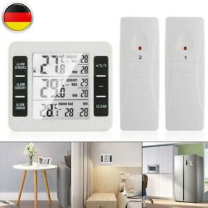 Funk Digital Kühlschrank Thermometer Gefrierschrank Temperatur + 2 Sensor Alarm