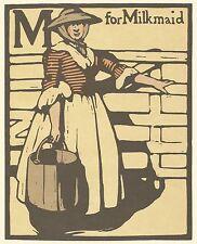 William Nicholson Gravure sur bois imprimé 1898 M pour Bergère Alphabet Lithographie 1975
