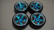 4PCS Blue 5 Spoke Hub Wheel Rim Smooth Tires for RC 1:10 Drift Car