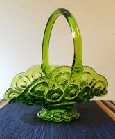 Vintage L.E. Smith Moon and Stars Green Glass Handled Basket