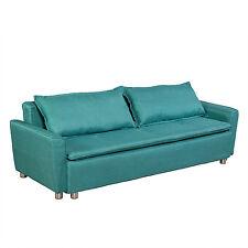 3-Sitzer Schlafsofa mit Bettfunktion und Bettkasten ausziehbar Stoff grün türkis
