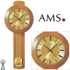 AMS 5132/9 Wanduhr Pendeluhr Funk, Massivholz Wohnzimmeruhr Uhr Funkuhr