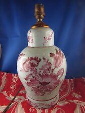 ancienne lampe francbert vougeot ceramique peinte fleur epoque 1950