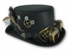 Jacobson Hat Company Black Steampunk Victorian Hat Adult Feathers Gears Goggles