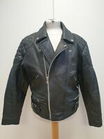 R175 MENS SKINTAN REAL LEATHER BLACK COLLARLED LEATHER BIKER UK M EU 50