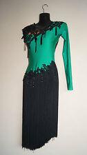 Lateinkleid Turnierkleid Kleid Tanzkleid Latin grün Fransenkleid