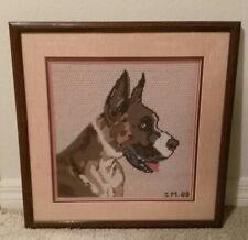 """Great Dane Needlepoint Finished Framed 18"""" x 18"""" Dog"""
