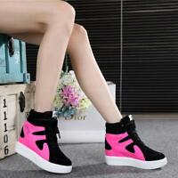 Womens Lace Up Hidden Wedge Running Sports High Top Sneakers Trainer Shoes 2020