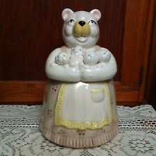 Vintage Bear Cookie Jar Mother Baby Cubs 1950s 1960s Mid Century Apron Japan