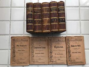 1867 Schiller's Werke, volumes 3-12. German. Illustrated. 1/4 leather