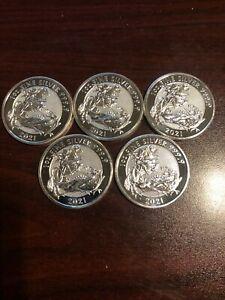 Lot of 5 (five oz) - 2021 UK Dragon 1 oz Valiant Silver Coin .9999 fine