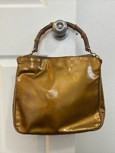 GUCCI COPPER BAMBOO HANDLE BAG VINTAGE DIANA LEATHER SATCHEL LIMITED EDITION $2K