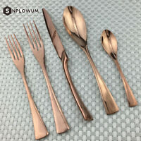 20 Piece Silverware Stainless Steel Flatware Set Spoon Fork Rose Gold Cutlery