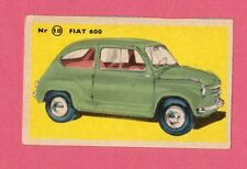 Fiat 600 Vintage 1950s Car Collector Card from Sweden