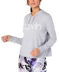 Calvin Klein Performance Women's Logo Hoodie T-Shirt; Grey (Medium)