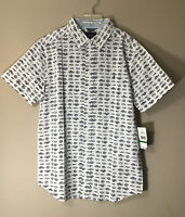 Nautica Boys Button Up Dress Shirt Sz L (14/16) Fish Graphics White Blue Cotton