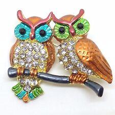 WISE OWL PAIR BROOCH PIN Crystal Rhinestone Enamel Big Bright Eye Gold Tone Bird