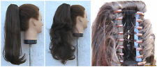 chestnut brown wavy curly / straight clip in pony tail hair extension piece new
