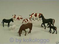 F11 H0- Set 8 Stück Tiere für Bauernhof Kühe Pferde Esel Schaf