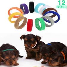 12Pcs/Pack Rainbow Fabric Adjustable Id Puppy Whelping Collar Band Newborn Pet