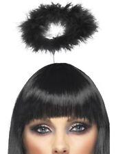 Black Feather Gothic Marabou Fallen Angel Halo Halloween Headband Fancy Dress