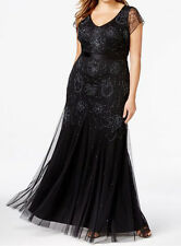 Adrianna Papell New Plus Size Beaded Cap-Sleeve Gown Size 14W MSRP $229 #HN 479