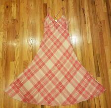 Polo Ralph Lauren Women's Plaid Maxi Dress Spaghetti Red Cream Pink Size 14