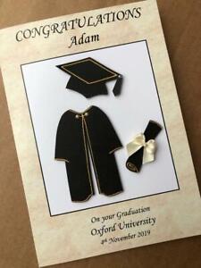 Personalised Graduation Card handmade 3D Congratulations Cap Scroll Gown Custom