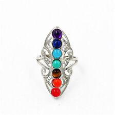 7 Chakra Stones Healing Reiki Dowsing Gemstone Adjustable Finger Ring Jewelry !!