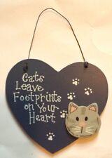 CATS LEAVE FOOTPRINTS WOODEN SIGN WALL DECOR PLAQUE HOME DECOR ORNAMENT - NEW