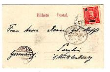 1902, AK (Madeira), frankiert mit 25 Reis FUNCHAL, entwertet oval dt. Seepostst.