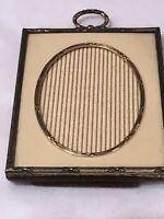 "Antique Gold Tone Exquisite Photo Frame 3 1/4 X 4"" 3/8"" Oval Center"