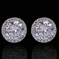 Sparkly platinum plated round zircon & diamante halo stud earrings bridal
