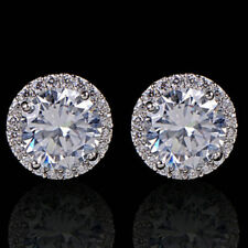 Sparkly platinum plated round zircon & diamante halo stud earrings bridal