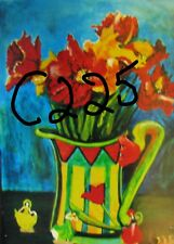 """C225  ORIGINAL ACRYLIC PAINTING BY LJH    """"TULIPS IN VASE"""""""
